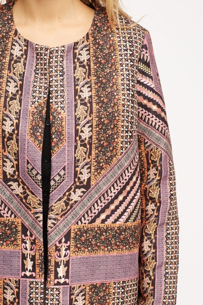 Mixed Print Long Line Coat