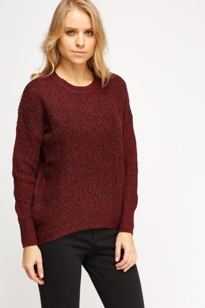 Red Speckled Knitted Jumper