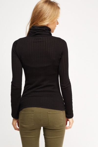 Ribbed Turtle Neck Thin Jumper