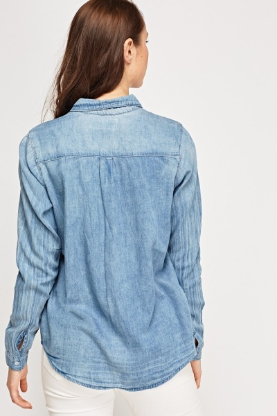 Contrast Denim Blue Shirt