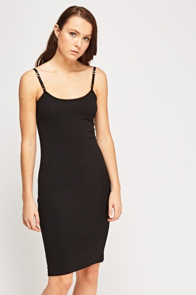 Detail Strap Black Bodycon Dress