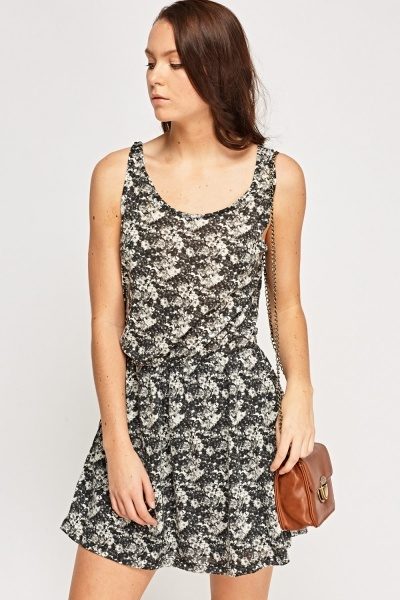 Floral Print Elasticated Dress