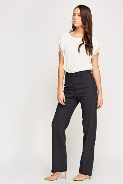 Straight Leg Navy Trousers