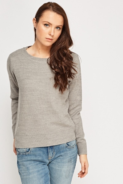 Textured Front Basic Jumper