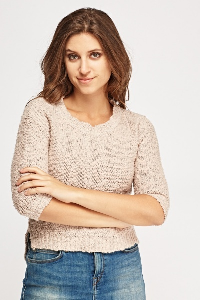 3/4 Sleeve Bobble Knit Jumper