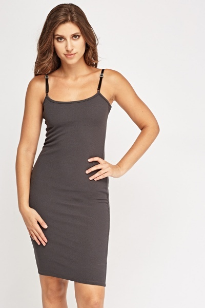 Detailed Strap Midi Bodycon Dress