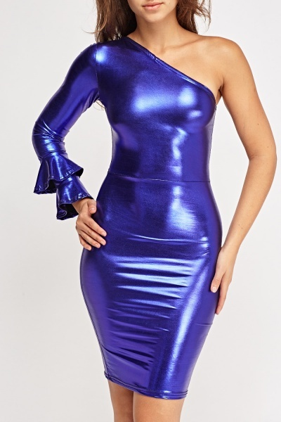 Metallic One Shoulder Bodycon Dress