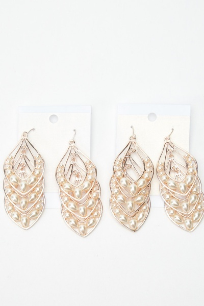 2 Pairs Of Drop Layered Earrings