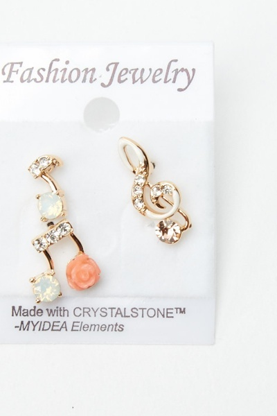 3 Pairs Of Music Notes Stud Earrings