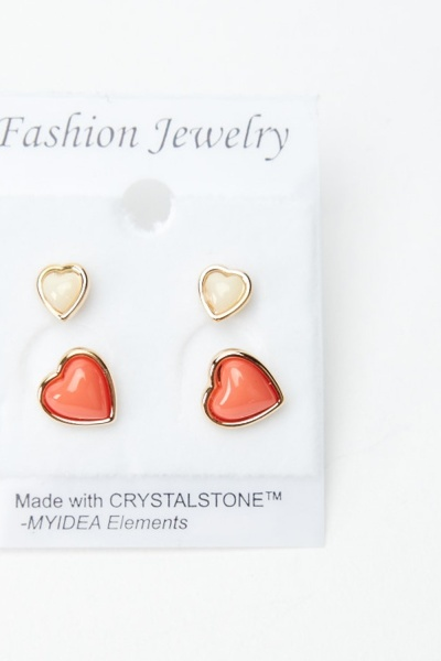 4 Pairs Of Heart Stud Earrings