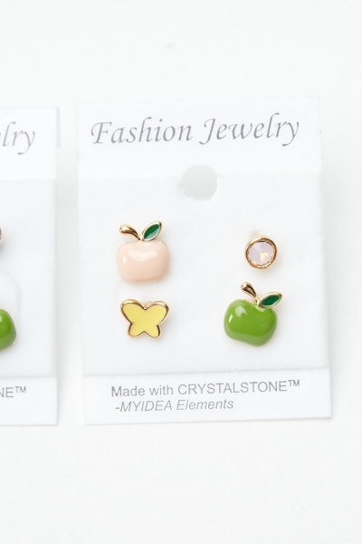 4 Pairs Of Mixed Fruit Stud Earrings