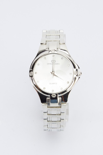 Diamonte Face Metal Watch