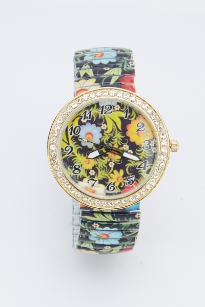 Encrusted Floral Watch