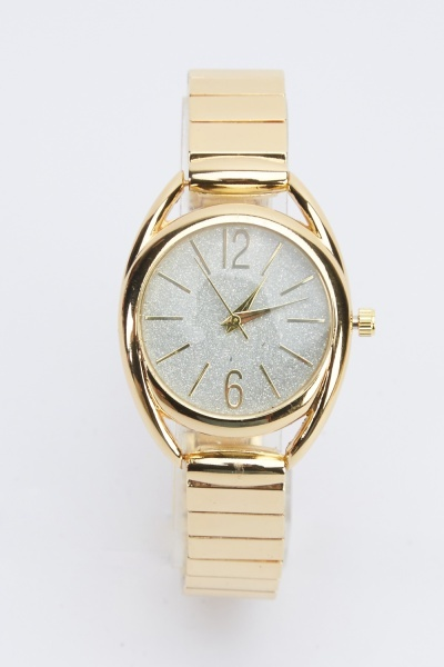 Glitter Face Metal Strap Watch
