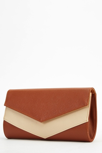 Two Tone Faux Leather Clutch Bag