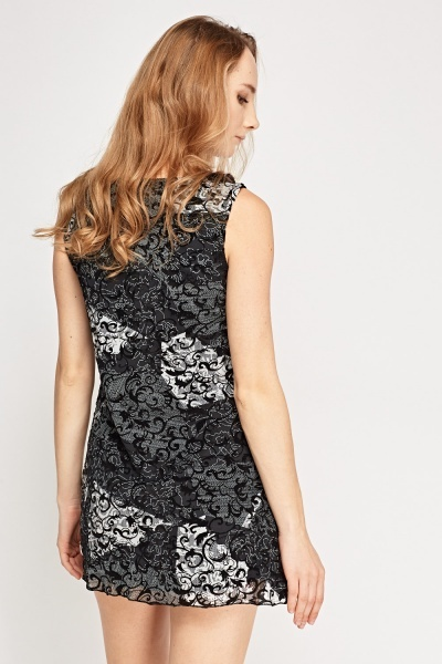 Embossed Mesh Overlay Dress