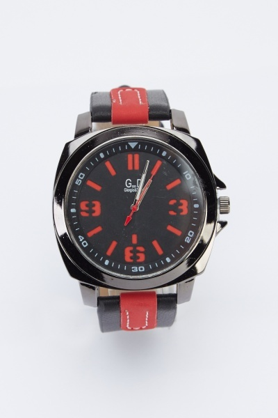 Faux Leather Strap Mens Watch