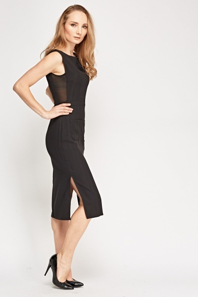 Mesh Insert Black Midi Dress