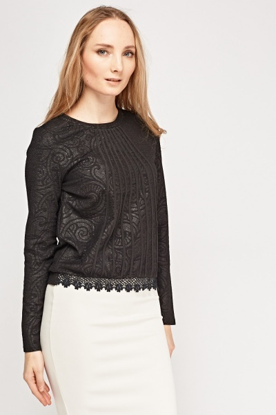 Metallic Embossed Contrast Top