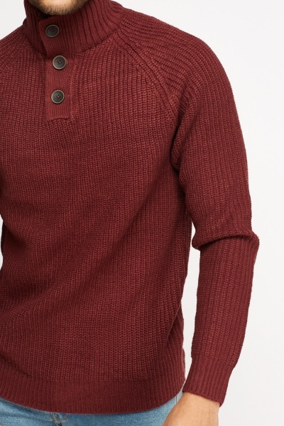Ribbed Button Neck Jumper