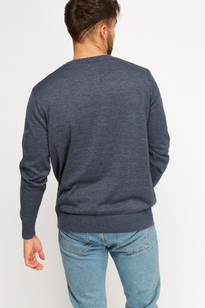 Ribbed Trim Thin Knitted Jumper