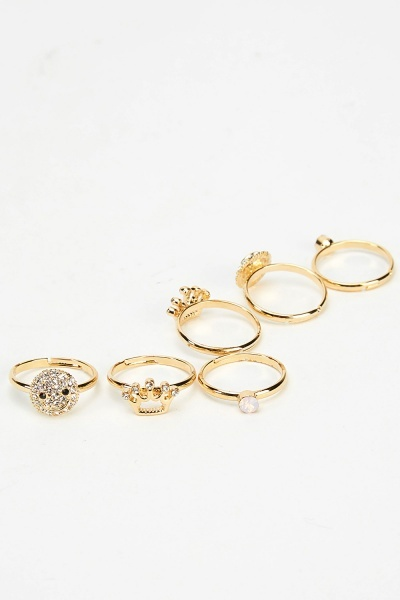 Set Of 6 Mixed Crown Rings
