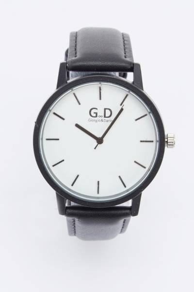 Skinny Faux Leather Strap Watch