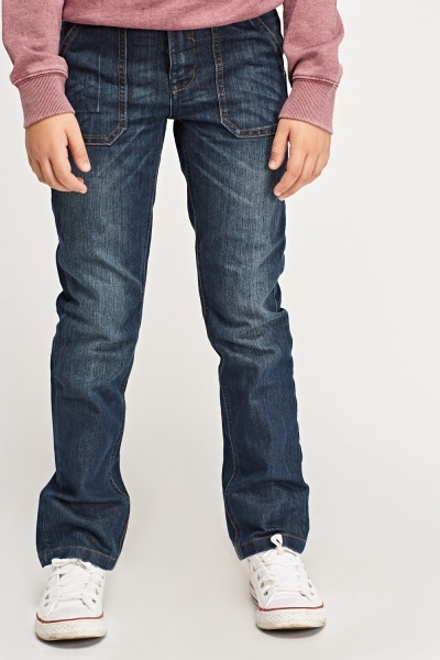 Washed Denim Slim Leg Jeans