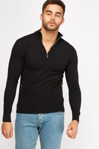 High Zip Neck Thin Knitted Jumper