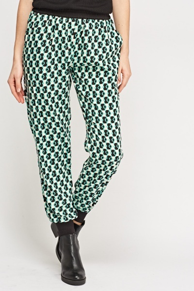 Printed Lightweight Contrast Trousers