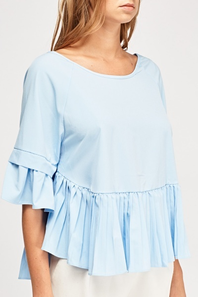 Pleated Hem Peplum Top