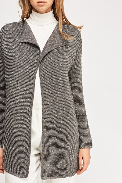 Ribbed Metallic Insert Cardigan
