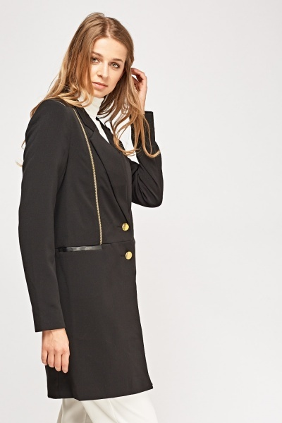 Zip Detail Contrast Long Jacket