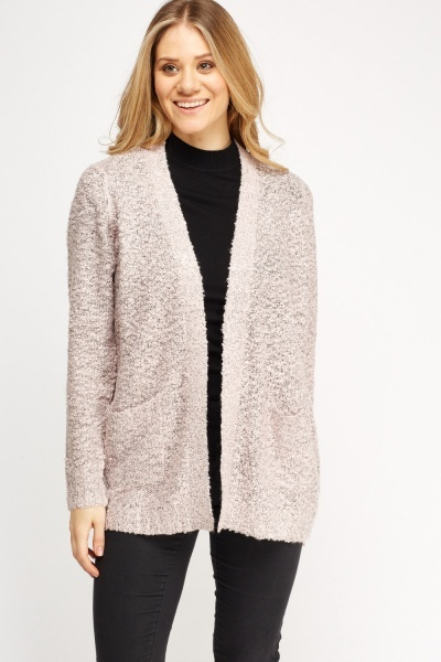 Bobble Knit Open Front Cardigan