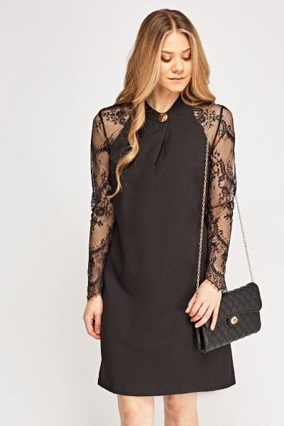 Lace Sleeve Contrast Dress