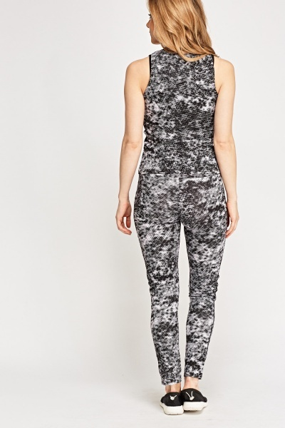 Mono Printed Top And Leggings Set