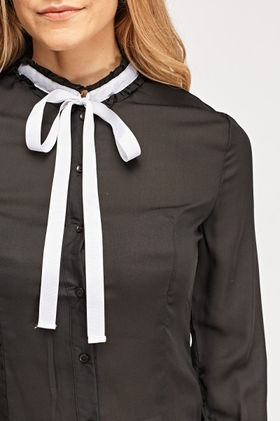 Sheer Tie Up Neck Blouse