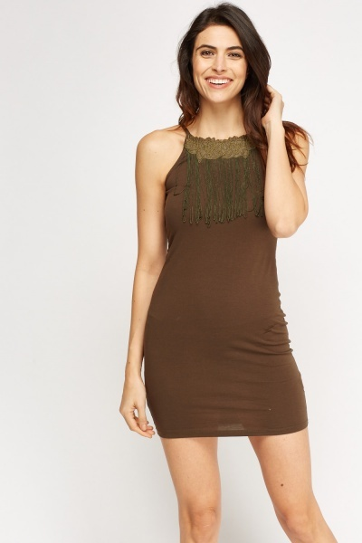 Embroidered Fringed Detailed Mini Dress