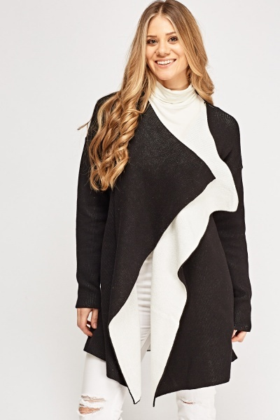 Knitted Waterfall Long Cardigan