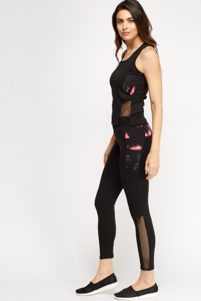 Mesh Insert Top And Leggings Sports Set