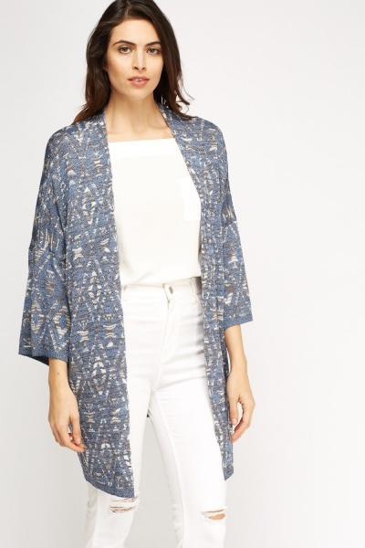 Open Front Aztec Knitted Cardigan