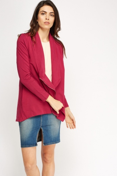 Wrap Zip Up Front Cardigan