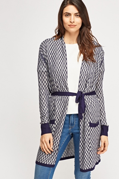Checked Knitted Tie Up Cardigan