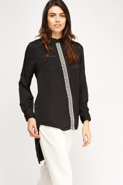 Contrast Trim Sateen Top
