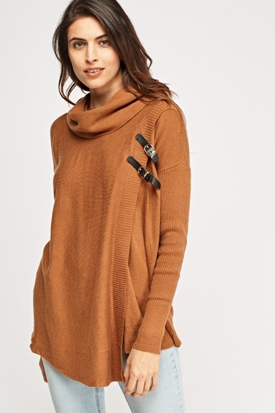 Cowl Neck Buckled Wrap Jumper