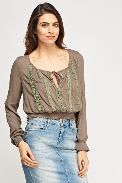 Crochet Panel Tie Up Neck Top