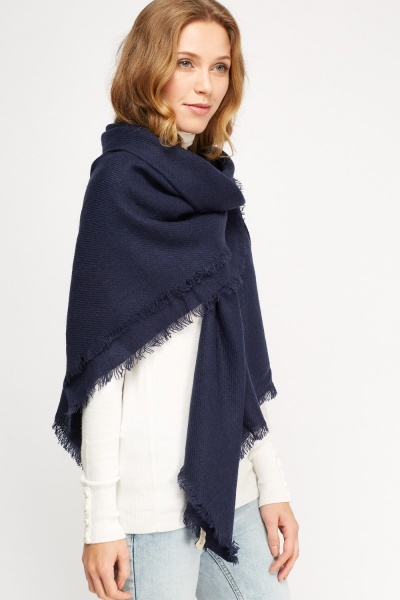 Embroidered Frayed Trim Scarf