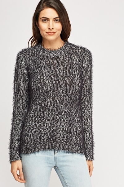 Eyelash Knit Round Neck Jumper
