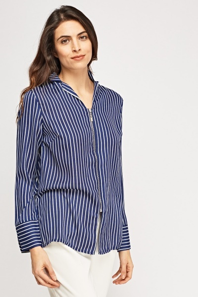 Zip Up Striped Blouse