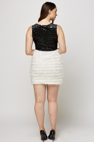 Contrast Eyelash Mini Dress